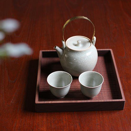 角盆ブラックウォールナット 正方形 / 堀宏治