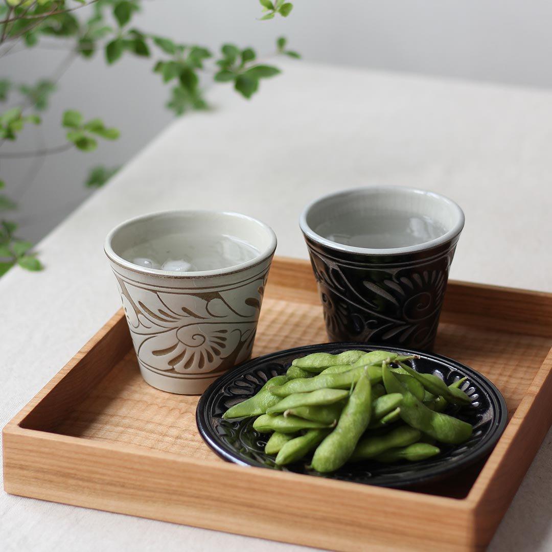 5寸皿 唐草線彫 / 育陶園