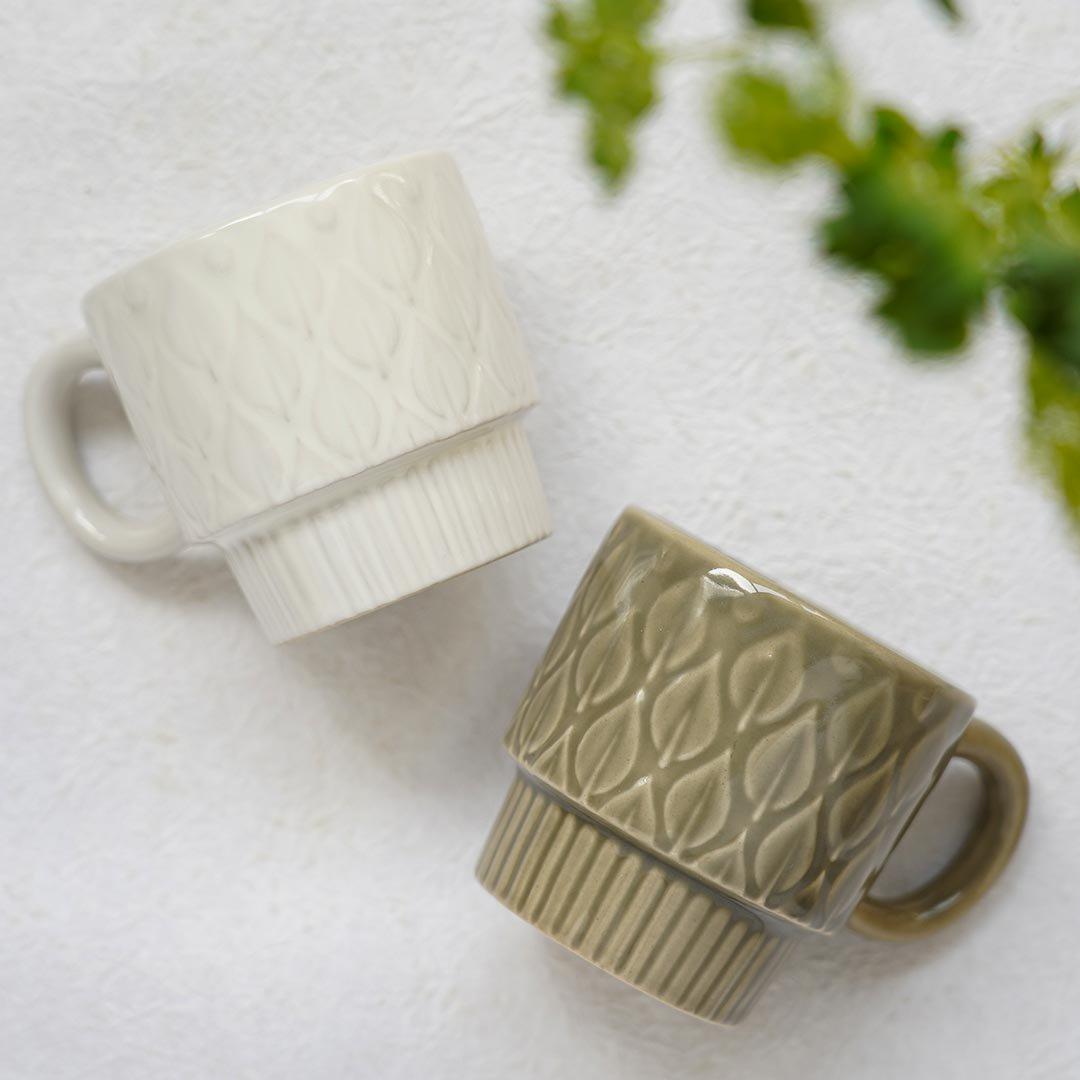 リーフ柄マグカップ / 光泉窯