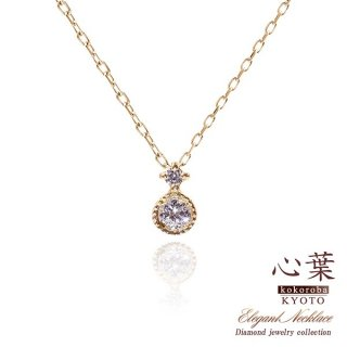心葉 天然 ダイヤモンド ネックレス K10【当日出荷:平日13時までのご注文】