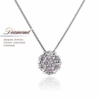 Pt900 ダイヤモンド フラワー ネックレス 【当日出荷:平日13時までのご注文】