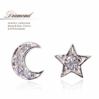 K18WG ダイヤモンド 月と星のピアス 【当日出荷:平日13時までのご注文】
