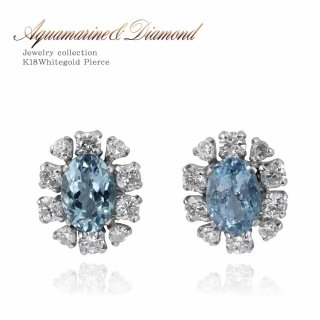 K18WG アクアマリン1.0ct ダイヤモンド0.5ct フラワーピアス 【当日出荷:平日13時までのご注文】