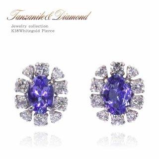 K18WG 18K タンザナイト 1.0ct ダイヤモンド 0.5ct フラワーピアス 【当日出荷:平日13時までのご注文】