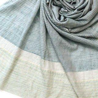 【30%OFF】S-PN0711_0007_BLUE GREEN カシミヤ 手織りストール ブルーグリーン