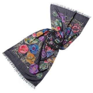S-WTA0913_1504_OFF BLACK フラワーモチーフ 薄手ウール・シルク アリー手刺繍ストール