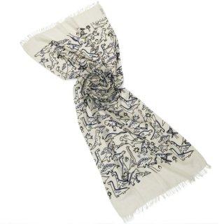 【Dinosaurダイナソー】薄手ウール・シルク 恐竜柄 アリー手刺繍ストール (ホワイト)