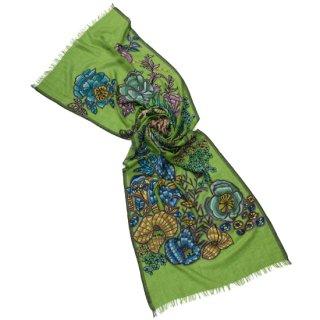 S-WTA0446(S-WTA9000)_0061_GREEN フラワーモチーフ 薄手ウール・シルク アリー手刺繍ストール