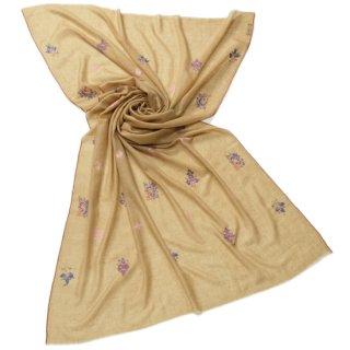 【30%OFF】S-PAN1001_0153_DARK BEIGE 【PREMIUM】手織り カシミヤ ニードル手刺繍ショール