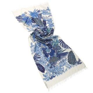 【NEW VIVID FLOWERS(ニュービビッドフラワーズ)】 薄手ウール・シルク アリー手刺繍ストール(ホワイト/ブルー)
