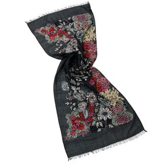 【10%OFF】S-WTA9014_1504_OFF BLACK 【New Vivid Flowers series】[FLOWER CAPE] 薄手ウール・シルク アリー手刺繍