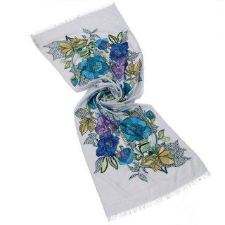 S-WTA9012_0092_LIGHT GRAY 【BIG BLUE FLOWERS】薄手ウール・シルク アリー手刺繍ストール