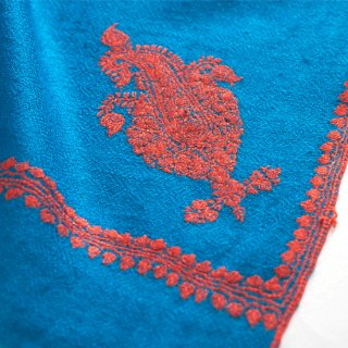 【30%OFF】S-PN0992b_0416_DARK TURQUOISE/ORANGE 手織り カシミヤ ニードル手刺繍ショール