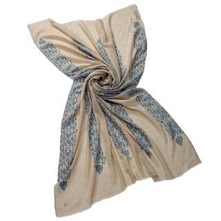 【30%OFF】S-PN0926_0272_OFF WHITE 【Kashmir Cashmere】手織り カシミヤ ニードル手刺繍ショール【PREMIUM】