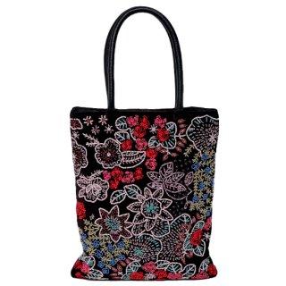【20%OFF】B-RVB1500_0231_BLACK フラワーモチーフ ビーズ刺繍トートバッグ