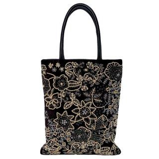 【20%OFF】B-RVB1500_0244_BLACK/BEIGE フラワーモチーフ ビーズ刺繍トートバッグ