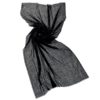 【30%OFF】SIOA-WE1500_0231_BLACK 薄手ウール ビーズ刺繍 大判ストール