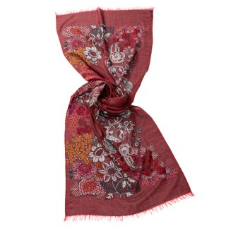 【10%OFF】S-WTA9014_0251_RED 【New Vivid Flowers series】[FLOWER CAPE] 薄手ウール・シルク アリー手刺繍