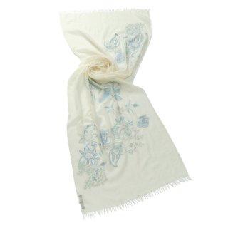 【FLOWER BOUQUET(フラワーブーケ)】薄手ウール・シルク フラワーモチーフ アリー手刺繍ストール