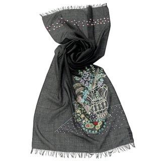 S-WTA2026_1504_OFF BLACK【MY ROOM】薄手ウール・シルク マイ・ルーム アリー手刺繍