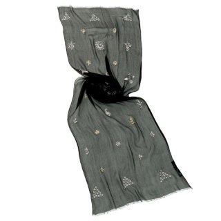 S-SN3026_0236_BLACK/WHITE シルク ニードル手刺繍ストール