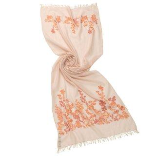 S-WTA3027_0171_ORANGE【SPRING BLOSSOM(スプリングブロッサム)】ウールシルク手刺繍ストール