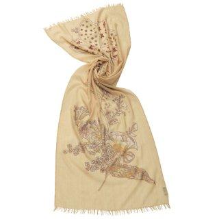 S-WTAN5000_0151_BEIGE 【FLOWER IN GENOVA】薄手ウール・シルク アリー&ニードル手刺繍ストール