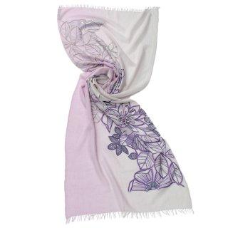 S-WTA5007_0140_LAVENDER【PASSION FLOWER】フラワーモチーフ 薄手ウール・シルク アリー手刺繍ストール
