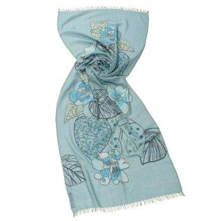 【20%OFF】 薄手ウール・シルク フラワーモチーフ アリー/ニードル手刺繍ストール(ペールグリーン)
