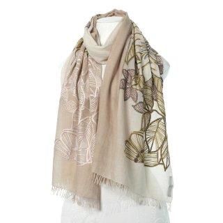 【20%OFF】【PASSION FLOWER】フラワーモチーフ 薄手ウール・シルク アリー手刺繍ストール