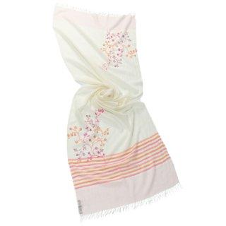 【11%OFF】【STRIPE & FLOWER(ストライプ&フラワー)】フラワーモチーフ 薄手ウール・シルク アリー手刺繍ストール