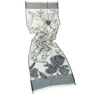 S-WTA3026_0276_WHITE/BLACK フラワーモチーフ 薄手ウール・シルク アリー手刺繍ストール