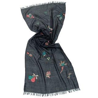 S-WTA3028_1504_OFF BLACK【SWEET FRUITS(スイートフルーツ)】薄手ウール・シルク アリー手刺繍