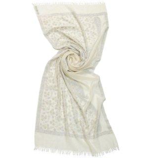 S-WTA8008_0283_WHITE/WHITE フラワー&ペイズリーモチーフ 薄手ウール・シルク アリー手刺繍ストール