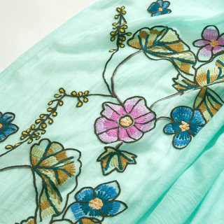 【30%OFF】コットン・シルク ベルギーFLOWER アリー手刺繍ストール