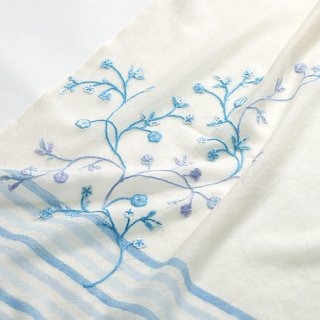 【11%OFF】【STRIPE & FLOWER(ストライプ&フラワー)】薄手ウール・シルク アリー手刺繍ストール