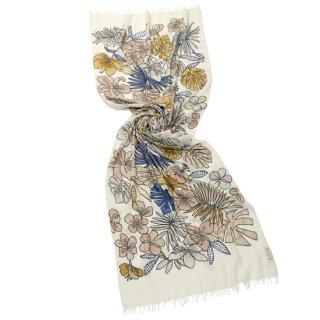 【20%OFF】【WHITE JUNGLE(ホワイトジャングル)】薄手ウール・シルク アリー手刺繍ストール