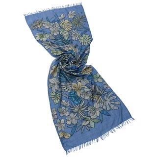 【20%OFF】【BLUE JUNGLE(ブルージャングル)】薄手ウール・シルク アリー手刺繍ストール