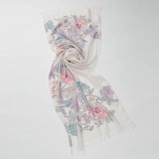 【10%OFF】【Flower Boquet(フラワーブーケ】麻素材 アリー手刺繍ストール(ホワイト)