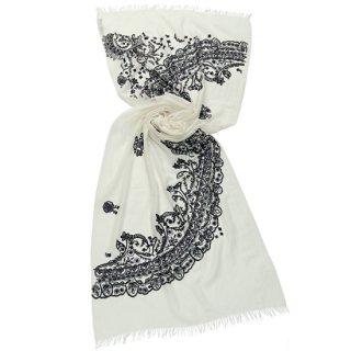 S-WTA3006_0276 WHITE/BLACK フランスレースモチーフ 薄手ウール・シルク アリー手刺繍ストール