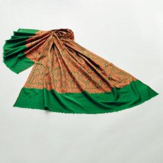 【30%OFF】S-PN0905_0063_DARK GREEN 【PREMIUM】手織り カシミヤ ニードル手刺繍ショール