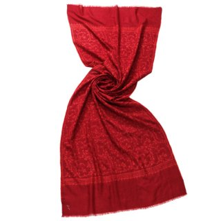 【30%OFF】S-PAN2031_0253_DARK RED【Kashmir Cashmere】手織り カシミヤ ニードル手刺繍ショール