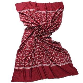 【30%OFF】S-PN2004_0253_DARK RED【Kashmir Cashmere】手織り カシミヤ ニードル手刺繍ショール