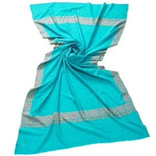 【30%OFF】S-PAN3005_0009_TURQUOISE【Kashmir Cashmere】手織り カシミヤ ニードル手刺繍ショール
