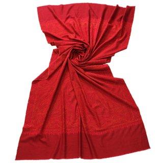 【30%OFF】S-PN0364_0251_RED【PREMIUM】手織り カシミヤ ニードル手刺繍ショール