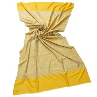 【30%OFF】S-PAN2012_0191_ YELLOW【Kashmir Cashmere】手織り カシミヤ ニードル手刺繍ショール