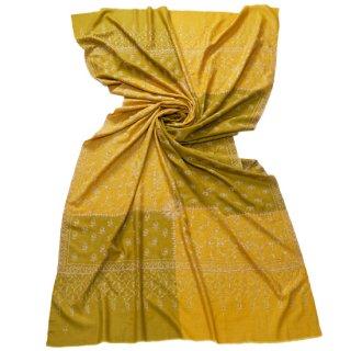 【30%OFF】S-PAN4012_0193_ DARK YELLOW【Kashmir Cashmere】手織り カシミヤ ニードル手刺繍ショール