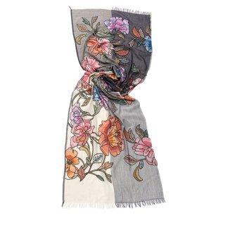 【PREMIUM】【Flower Boquet(フラワーブーケ)シリーズ】薄手ウール・シルク アリー手繍ストール (ホワイト/グレー)
