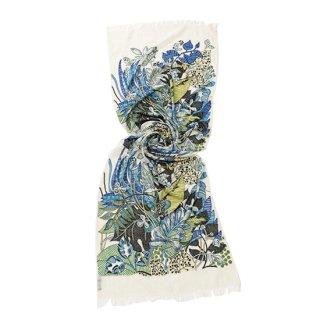 【PREMIUM】【Flower Boquet(フラワーブーケ)シリーズ】薄手ウール・シルク アリー手繍ストール (ホワイト)