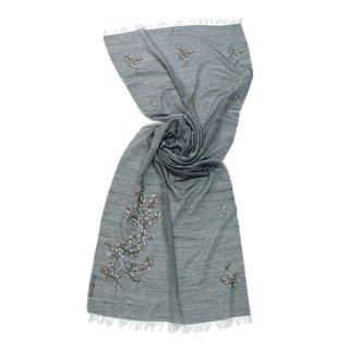 【Gift series(ギフトシリーズ)】薄手ウール・シルク フラワーモチーフ アリー手刺繍ストール (グレー)
